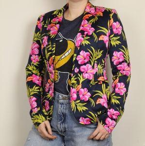 Juicy Couture Blue Floral Suit Blazer Size 2